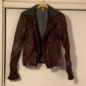 Maroon leather hoodie Free People jacket